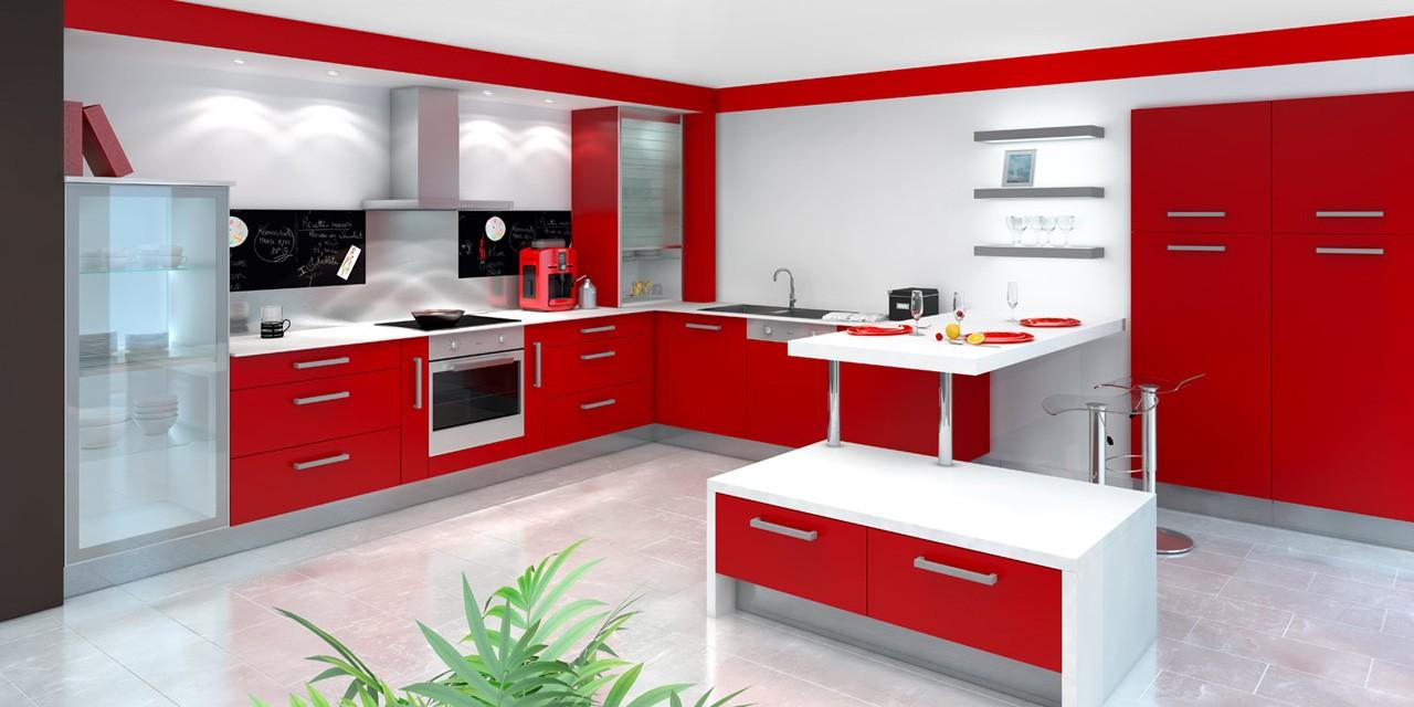 Decoration cuisine rouge et gris for Amenagement cuisine moderne